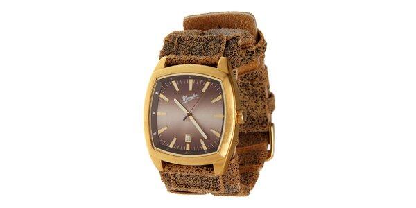 Zlaté oceľové hodinky Memphis so žíhaným remienkom