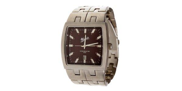 Ocelové hodinky Memphis s hnedým ciferníkom