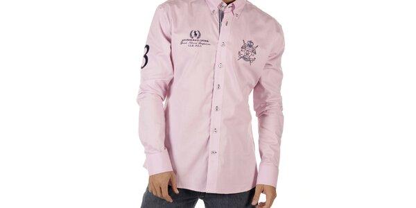 Pánska ružová košeľa s výšivkami CLK