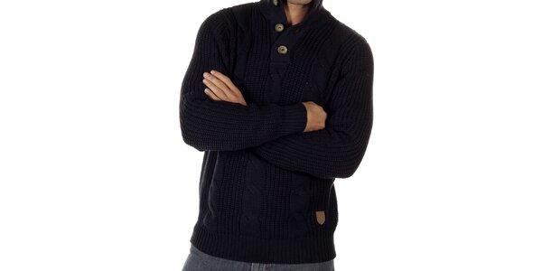 Pánsky tmavo modrý sveter s vrkočovým vzorom CLK