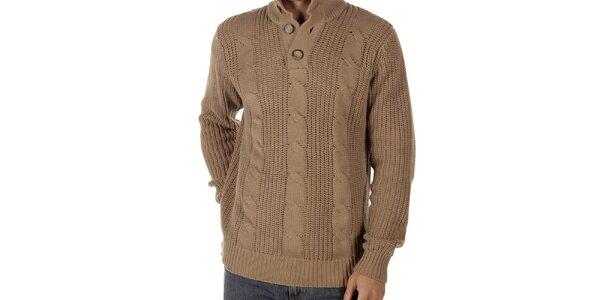 Pánsky svetlo hnedý sveter s vrkočovým vzorom CLK