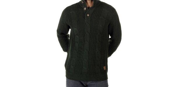 Pánsky fľaškovo zelený pletený sveter CLK