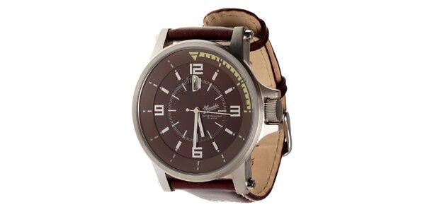 Pánske hnedé oceľové hodinky Memphis s hnedým koženým remienkom