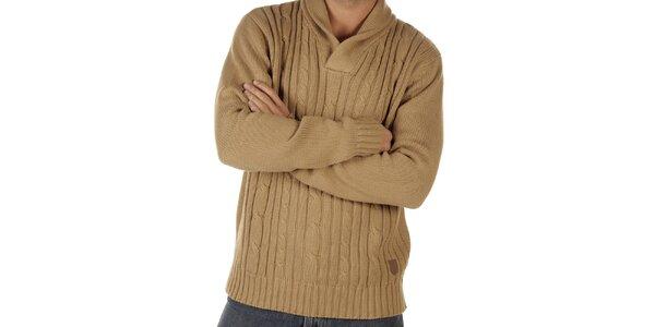 Pánsky béžový pletený sveter CLK