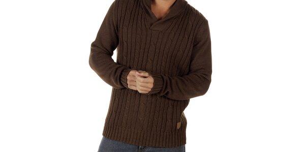 Pánsky hnedý sveter s plastickým vzorom CLK