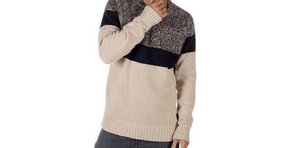 Pánsky modro-béžový sveter CLK