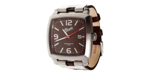 Pánske tmavo hnedé hodinky Memphis s hnedým koženým remienkom