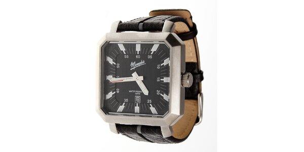Pánske čierne hodinky Memphis s čiernym koženým remienkom