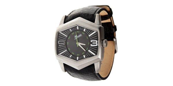 Pánske oceľové hodinky Memphis s čiernym koženým remienkom