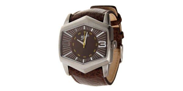 Pánske oceľové hodinky Memphis s hnedým koženým remienkom