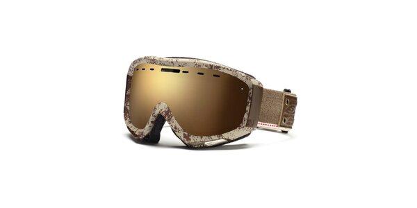 Krémovo-hnedé lyžiarske okuliare Smith Optics so vzorom
