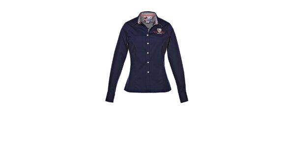 Dámska modrá košeľa s výšivkou M. Conte