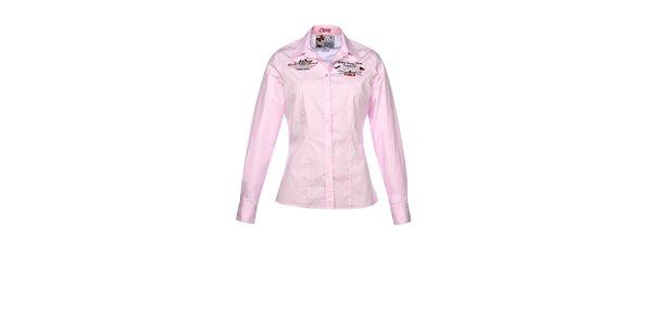 Dámska ružová košeľa s dlhým rukávom M. Conte