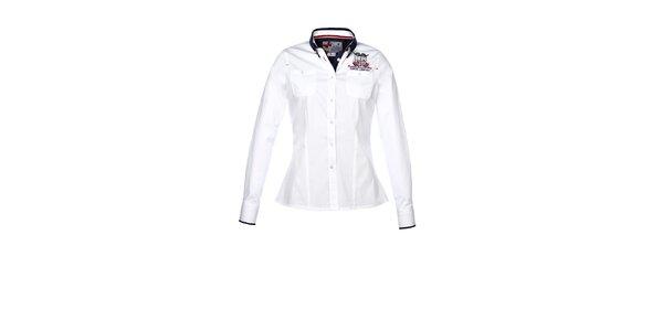 Dámska biela košeľa s dlhým rukávom a výšivkou M. Conte