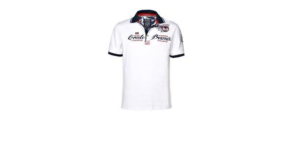 Pánske biele polo tričko s výšivkou M.Conte