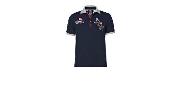Pánske tmavo modré polo tričko s výšivkami M. Conte