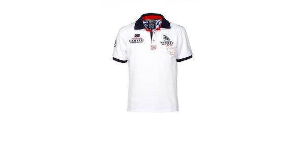 Pánske biele polo tričko s výšivkami M. Conte