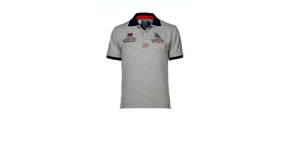 Pánske šedé polo tričko s výšivkami M. Conte