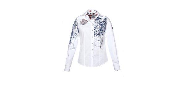 Dámska biela košeľa s potlačou a výšivkami M. Conte