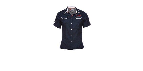 Dámska tmavo modrá športová košeľa s nášivkou M. Conte