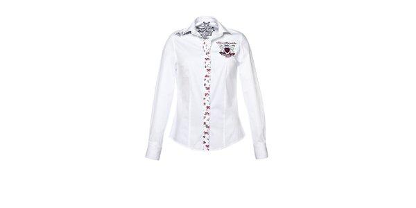 Dámska biela košeľa s dlhým rukávom a nášivkami M. Conte