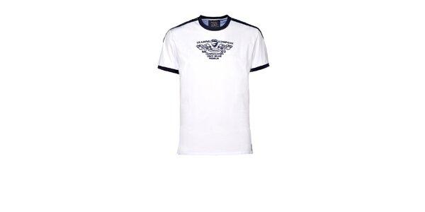 Pánske biele tričko s kontrastnými lemami M. Conte