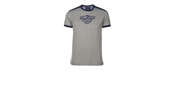 Pánske šedé tričko s kontrastnými lemami M. Conte