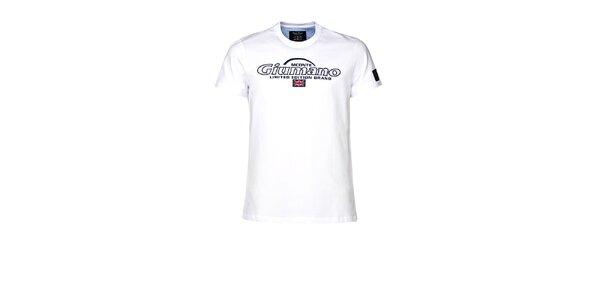 Pánske biele tričko s kontrastným límčekom M. Conte
