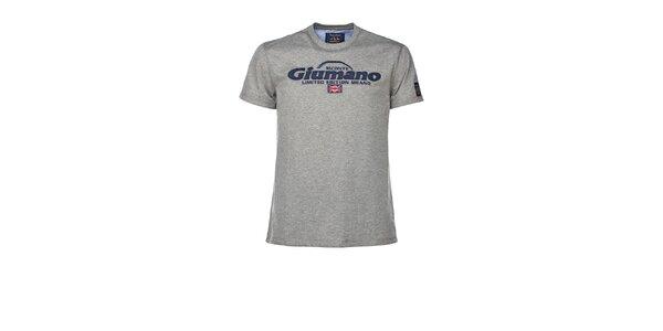 Pánske šedé tričko s kontrastným límčekom M. Conte