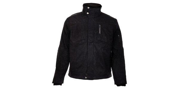 Pánska čierna softshellová bunda Trimm Switch s šedivou potlačou