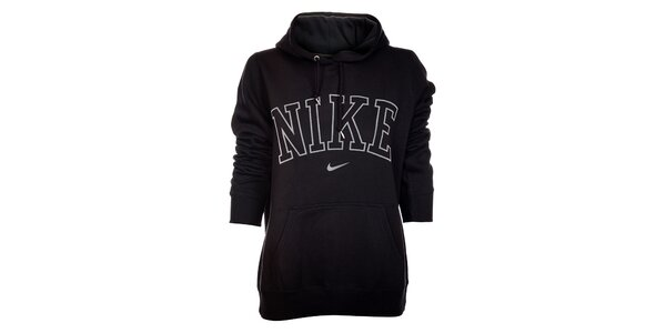 Dámska čierna mikina Nike s kapucou a bielym logom