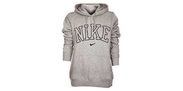 Dámska svetlo šedá mikina Nike s kapucou a čiernym logom