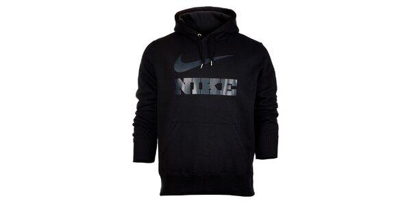 Pánska čierna mikina Nike s kapucou a šedivým logom