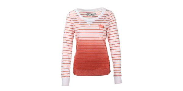 Dámsky sveter s oranžovými prúžkami Fresh Made