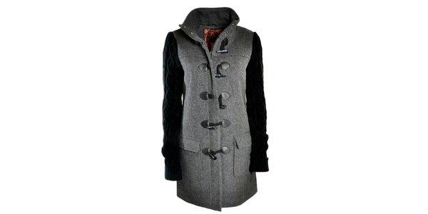 Dámsky šedý kabát s pletenými rukávmi Urban Surface