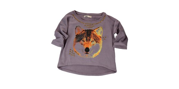 Dámsky fialový sveter s flitrami Fresh Made