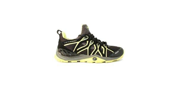 Dámske čierne nízke topánky s neonovými detailmi Tecnica