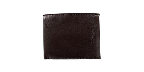 Pánska hnedá hladká peňaženka z kože Calvin Klein