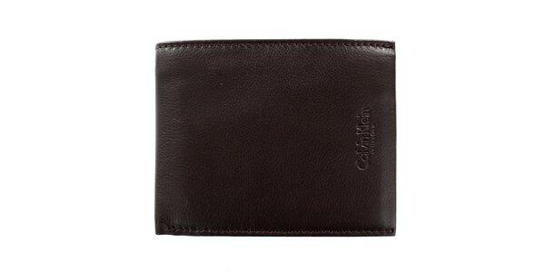 Pánska štvorcová hnedá peňaženka z kože Calvin Klein