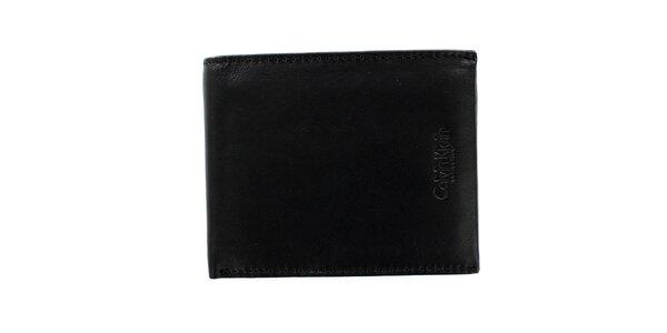 Pánska štvorcová čierna peňaženka z kože Calvin Klein