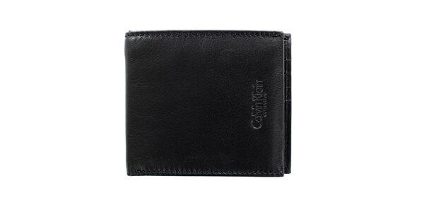 Pánska štvorcová čierna hladká peňaženka z kože Calvin Klein