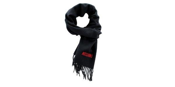 Čierny šál so strapcami Moschino