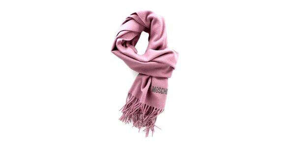 Svetlo fuchsiový šál so strapcami Moschino