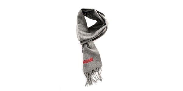 Šedý vlnený šál Moschino so strapcami
