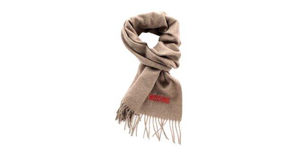 Šedobéžový šál so strapcami Moschino
