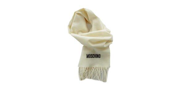 Smotanový šál Moschino so strapcami