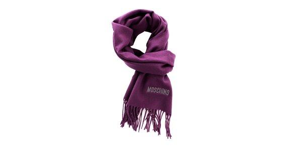 Fialový šál Moschino so strapcami