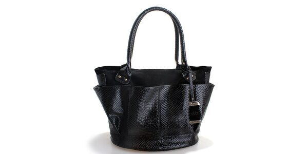 Dámska čierna kabelka Belle & Bloom v efekte hadej kože