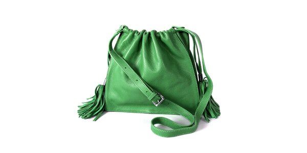 Dámska zelená kabelka so strapcami Belle & Bloom