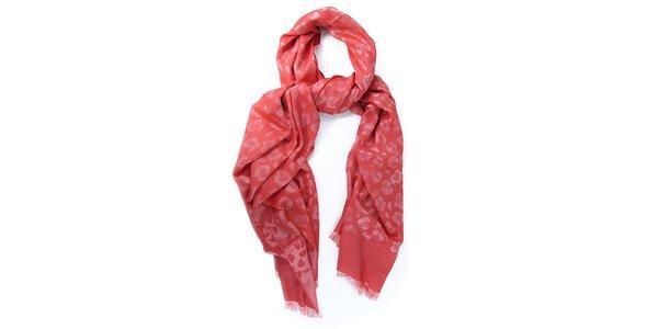 Dámska červenoružová šatka s potlačou Belle & Bloom